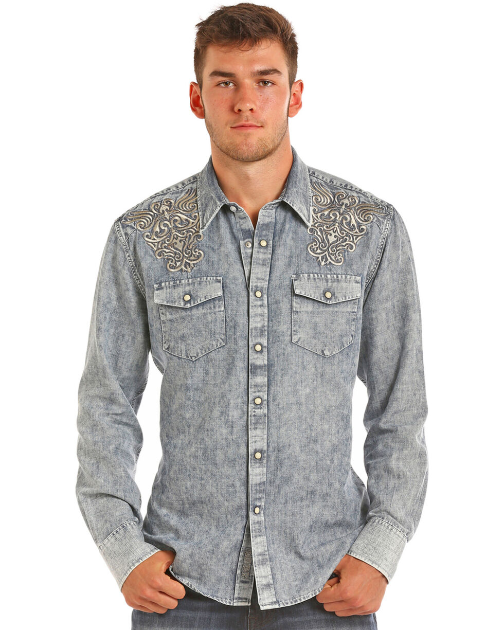 Rock & Roll Cowboy Men's Embroidered Light Wash Denim Shirt, Light Blue, hi-res