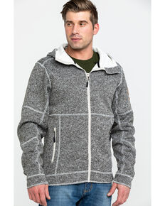 Powder River Outfitters Men's Sweater Knit Zip Hooded Jacket , Brown, hi-res
