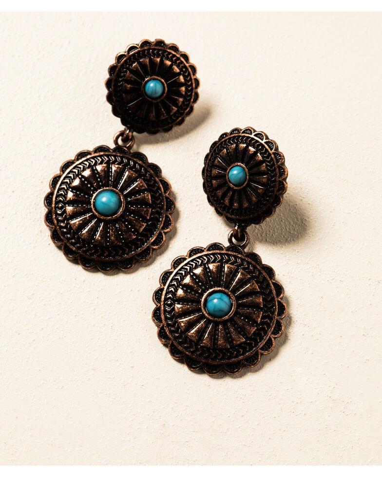 Shyanne Women's Willow Moon Double Concho Copper Earrings , Rust Copper, hi-res