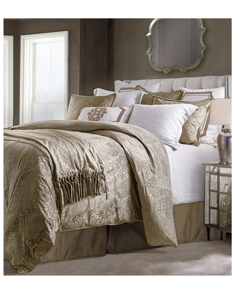 HiEnd Accents Diane Embossed Super King Velvet Comforter Set, Oatmeal, hi-res