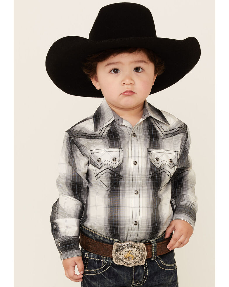 Cody James Toddler Boys' Reel Large Plaid Long Sleeve Snap Western Shirt , White, hi-res