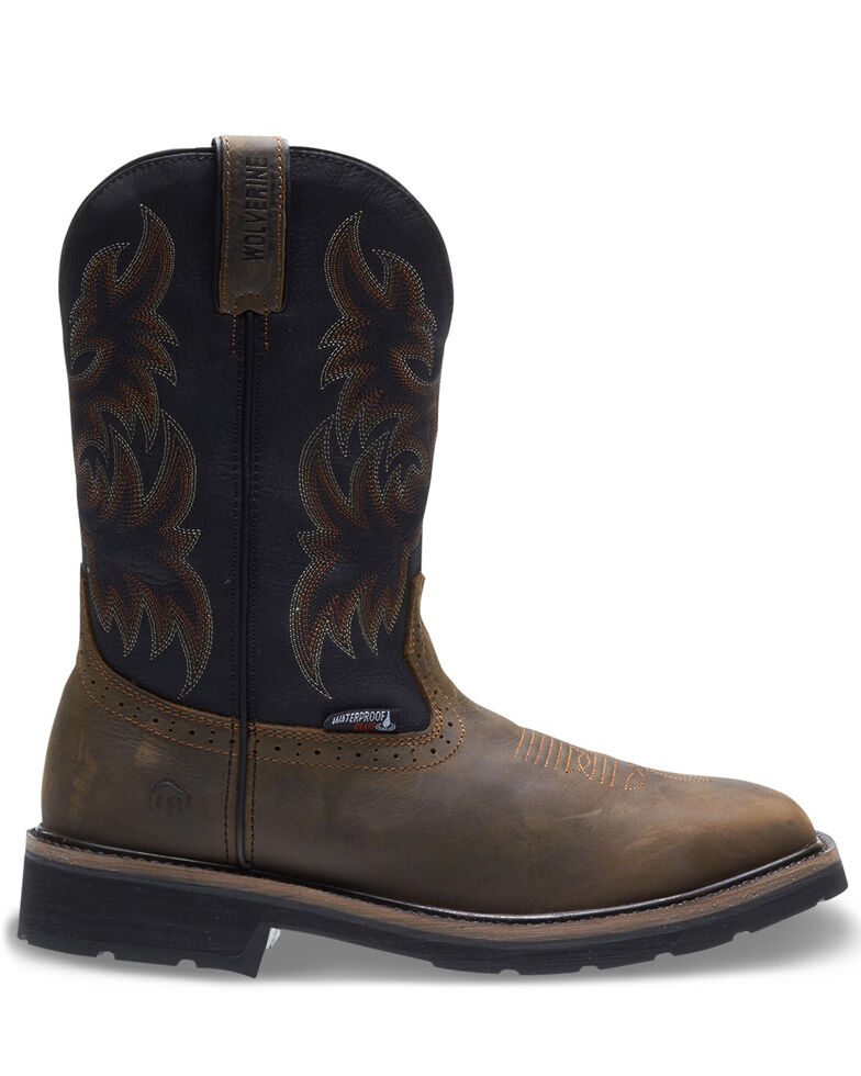 Wolverine Men's Rancher Waterproof Wellington Work Boots - Steel Toe, Brown, hi-res