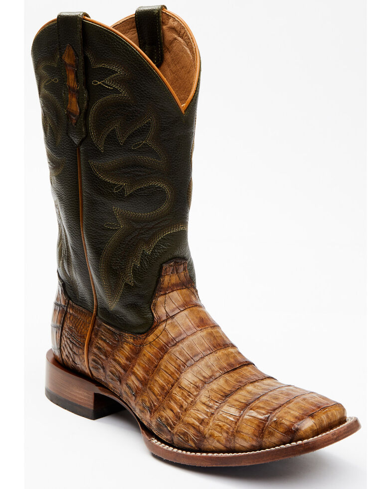 Cody James Men's Brown Exotic Caiman Tail Skin Western Boots - Wide Square Toe, Brown, hi-res