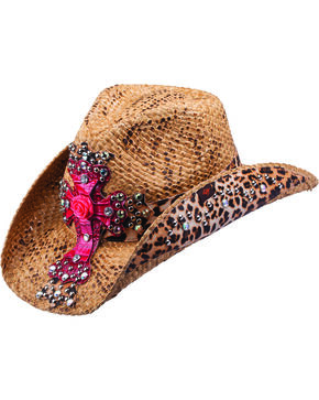 Peter Grimm Women's Leopard Cross Straw Hat, Brown, hi-res