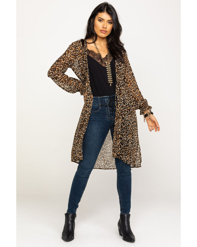 Red Label by Panhandle Women's Leopard Print Tie-up Long Sleeve Duster, Leopard, hi-res