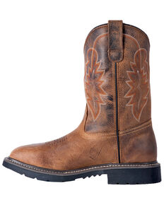 """McRae Men's 11"""" Pull On Western Work Boots - Wide Square Toe, Brown, hi-res"""