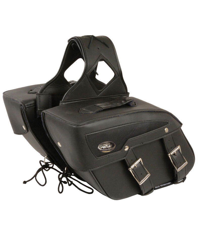 Milwaukee Leather Medium Zip-Off PVC Slanted Throw Over Saddle Bag, Black, hi-res
