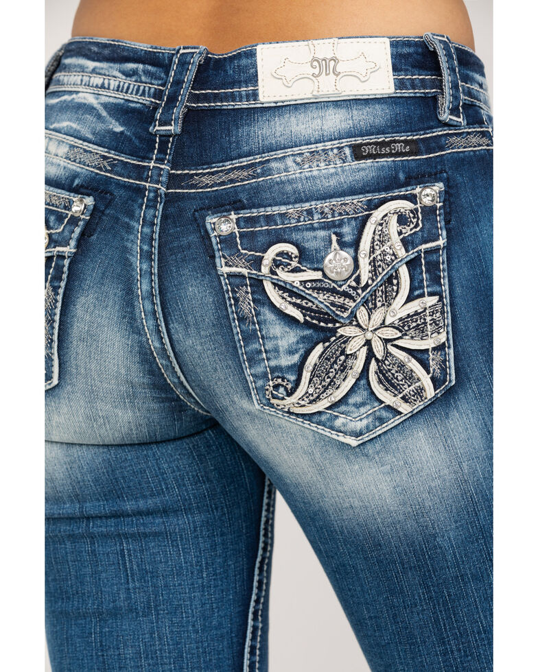 Miss Me Women's Lily Flower Bootcut Jeans, Blue, hi-res