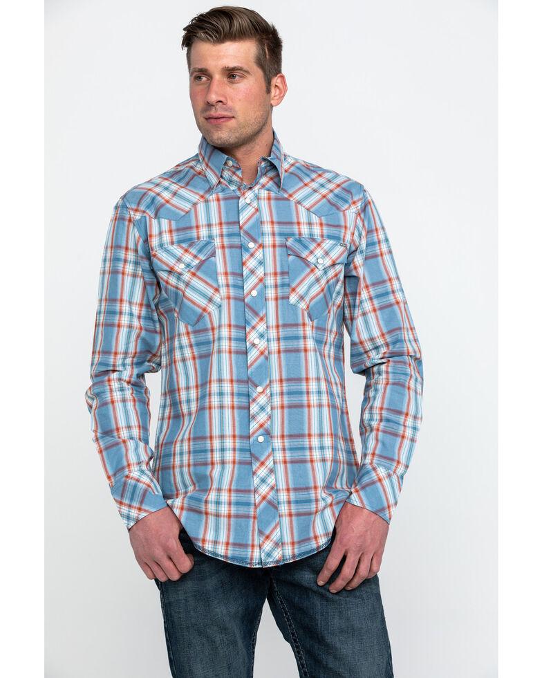 Tin Haul Men's Med Plaid Long Sleeve Western Shirt , Blue, hi-res