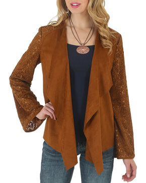 Wrangler Women's Faux Suede Knit Back Sweater, Tan, hi-res