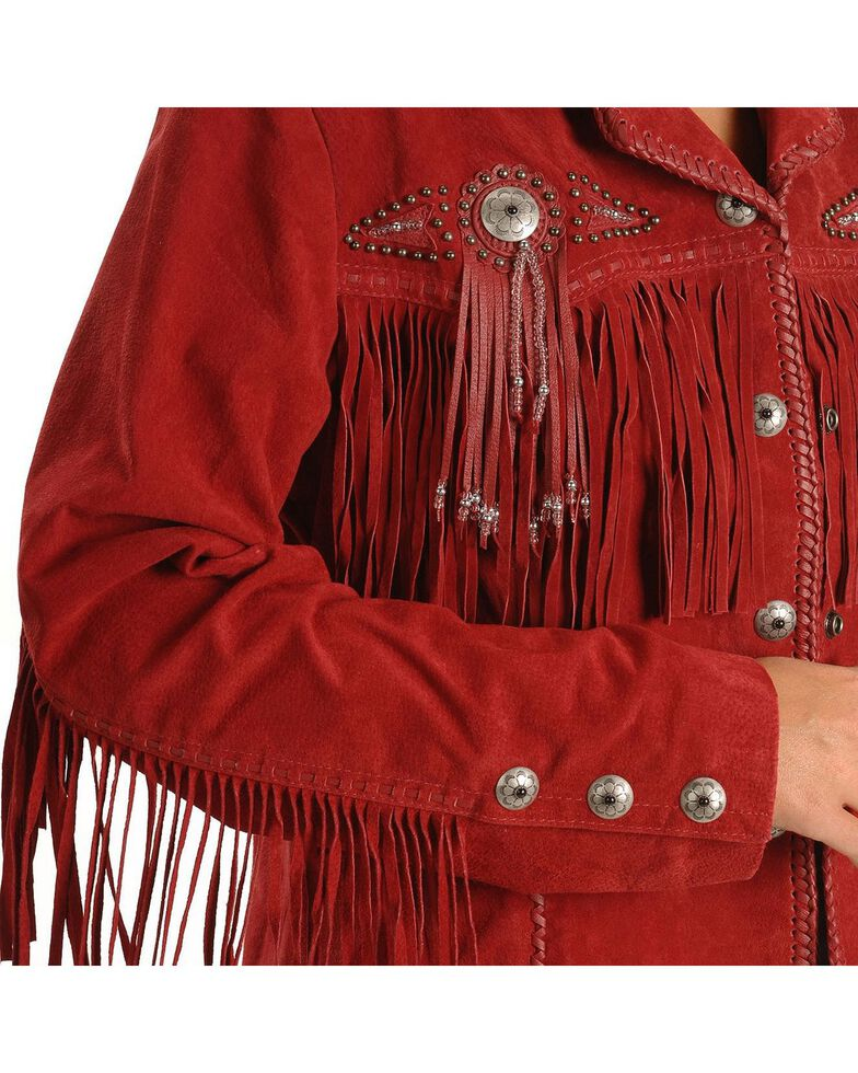 Scully Fringed Suede Leather Jacket, Red, hi-res