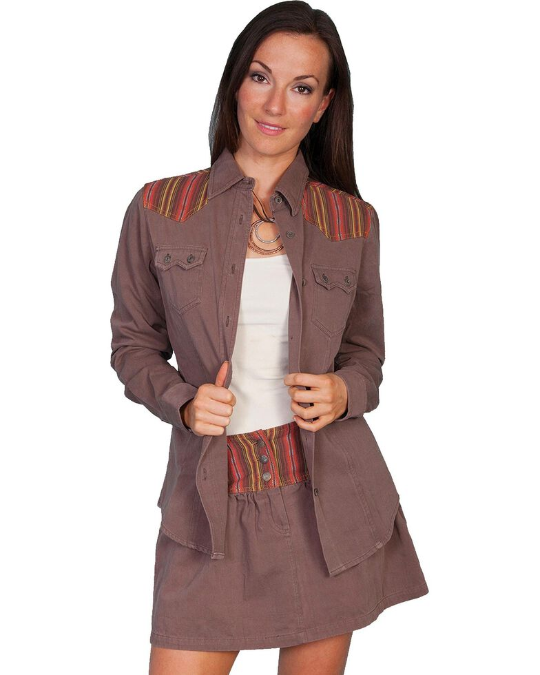 Scully Striped Yoke Long Sleeve Top, Brown, hi-res