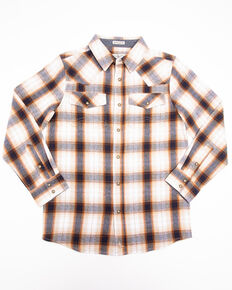 Cody James Boys' Avalon Plaid Long Sleeve Flannel Shirt , Tan, hi-res
