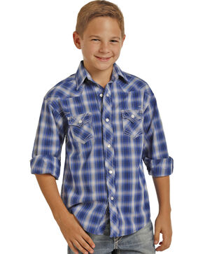 Rock & Roll Cowboy Boys' Blue Ombre Plaid Long Sleeve Shirt , Blue, hi-res