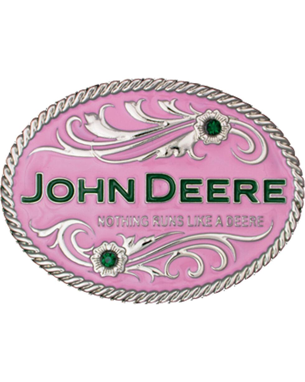 Montana Silversmiths Women's Pink John Deere Belt Buckle, Silver, hi-res