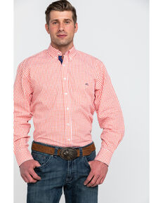 Resistol Men's Dartmoor Small Plaid Long Sleeve Western Shirt , Orange, hi-res