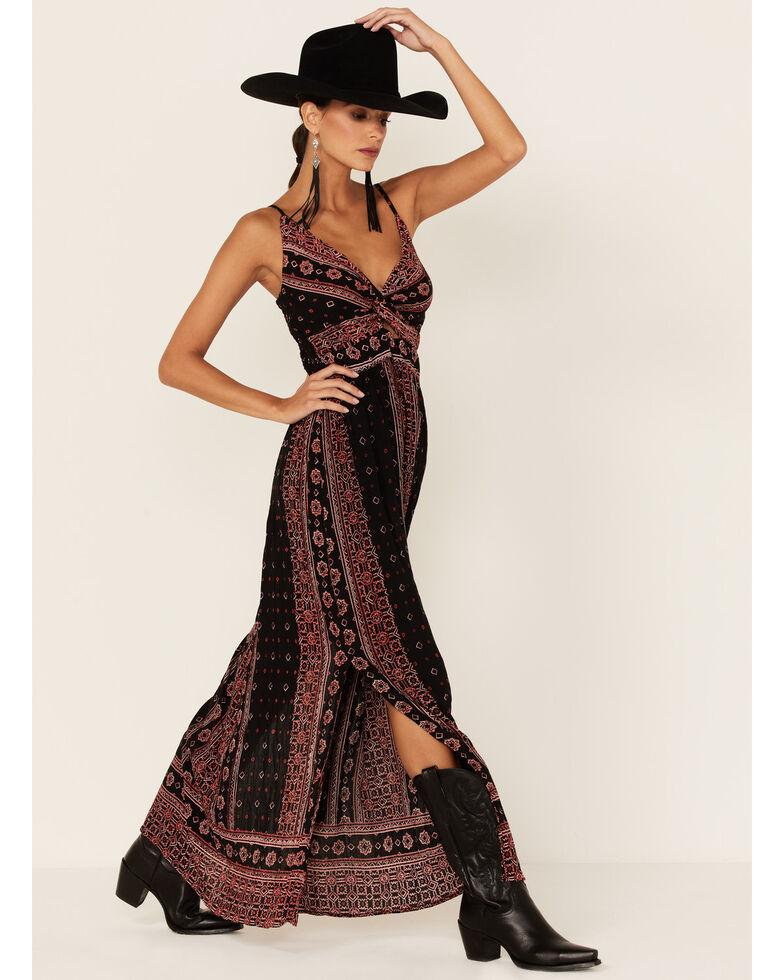 Angie Women's Twist Front Maxi Dress, Black, hi-res