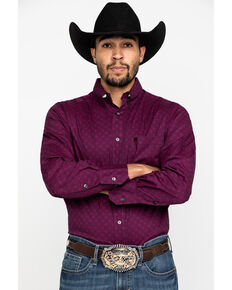 Wrangler 20X Men's Competition Purple Geo Print Long Sleeve Western Shirt , Purple, hi-res