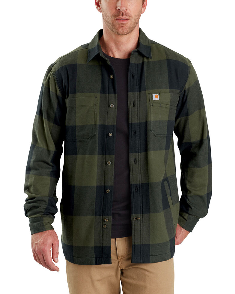 Carhartt Men's Rugged Flex Hamilton Fleece-Lined Shirt , Olive, hi-res