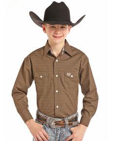 Panhandle Select Boys' Brown Brushed Poplin Paisley Print Long Sleeve Western Shirt , Brown, hi-res
