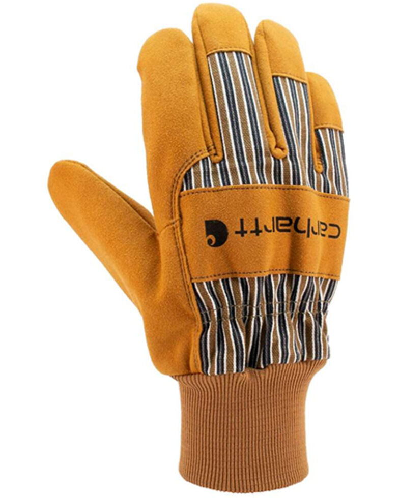 Carhartt Men's Synthetic Suede Knit Cuff Work Gloves, Brown, hi-res