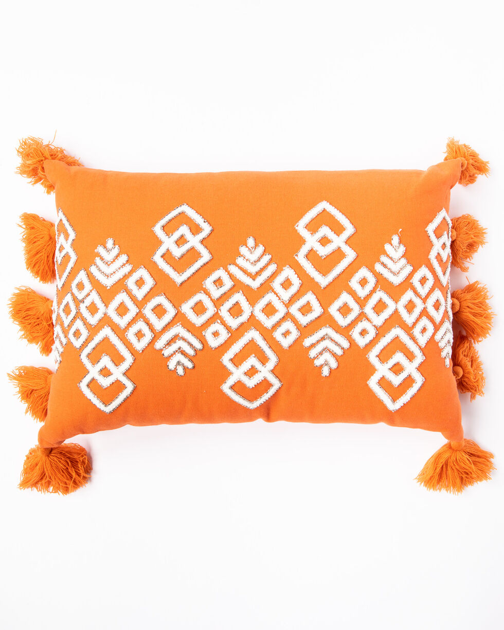BB Ranch Sunset Orange Beaded Aztec Pillow, Orange, hi-res