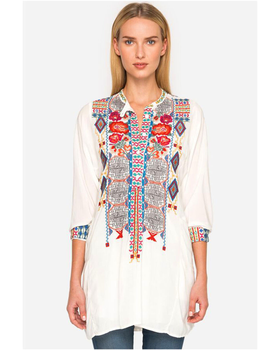 Johnny Was Women's Sunny Challis Tunic Top, White, hi-res