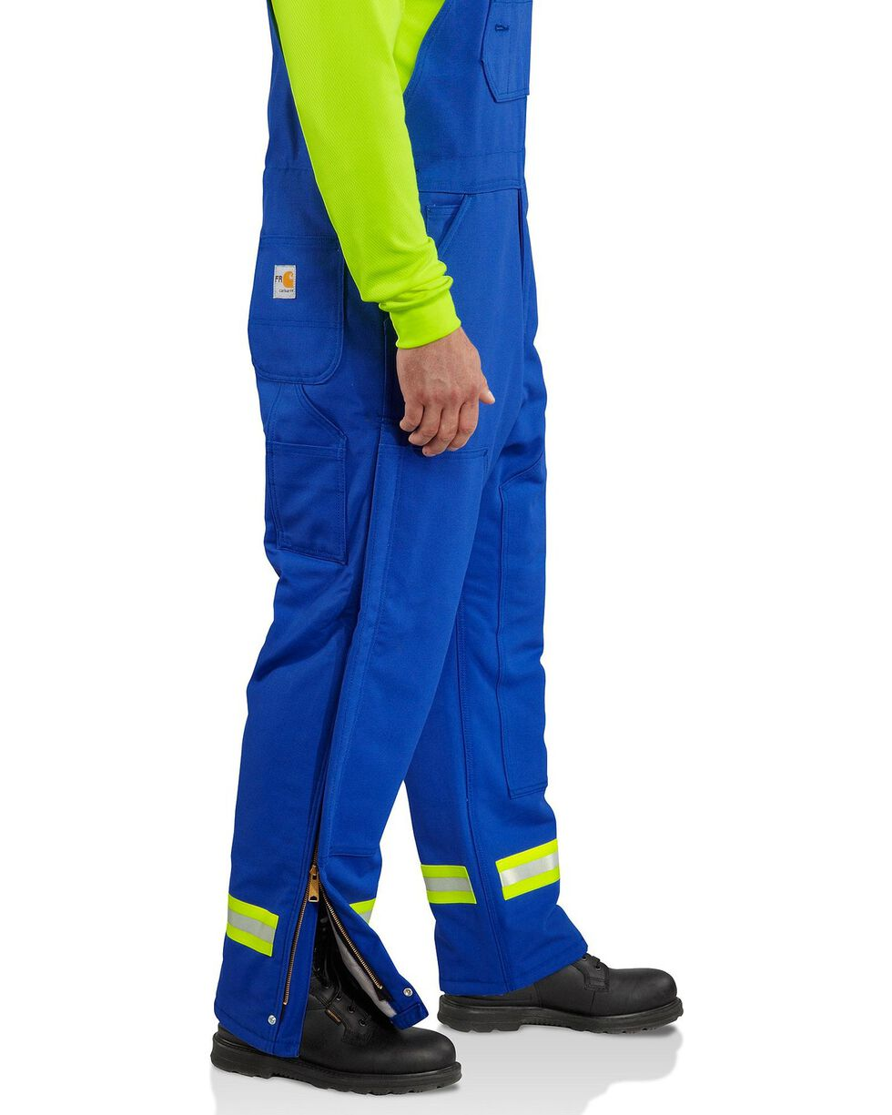 Carhartt Men's Flame Resistant Duck Bib Overalls, Royal, hi-res