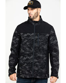 Hawx Men's Grey Camo Printed Reflective Soft Shell Work Jacket - Tall , Black, hi-res