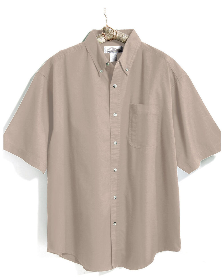 Tri-Mountain Men's Khaki Solid Recruit Short Sleeve Work Shirt , Beige/khaki, hi-res