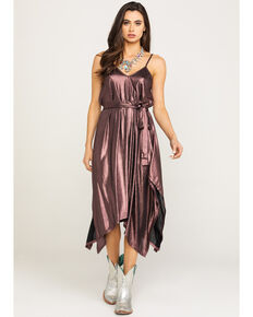 Luna Chix Women's Pink Pleat Metallic Dress , Pink, hi-res