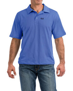 Cinch Men's Light Blue Arena Flex Short Sleeve Polo Shirt , Light Blue, hi-res