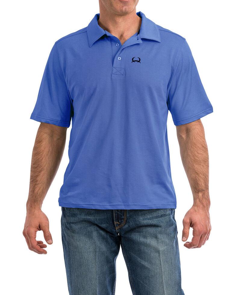 Cinch Men's Light Blue Arena Flex Short Sleeve Polo Shirt , Light Blue, hi-res