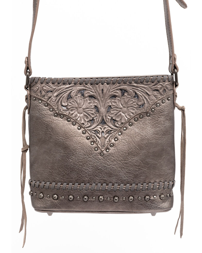 Shyanne Women's Grey Glitter Inlay Crossbody Bag, Medium Grey, hi-res