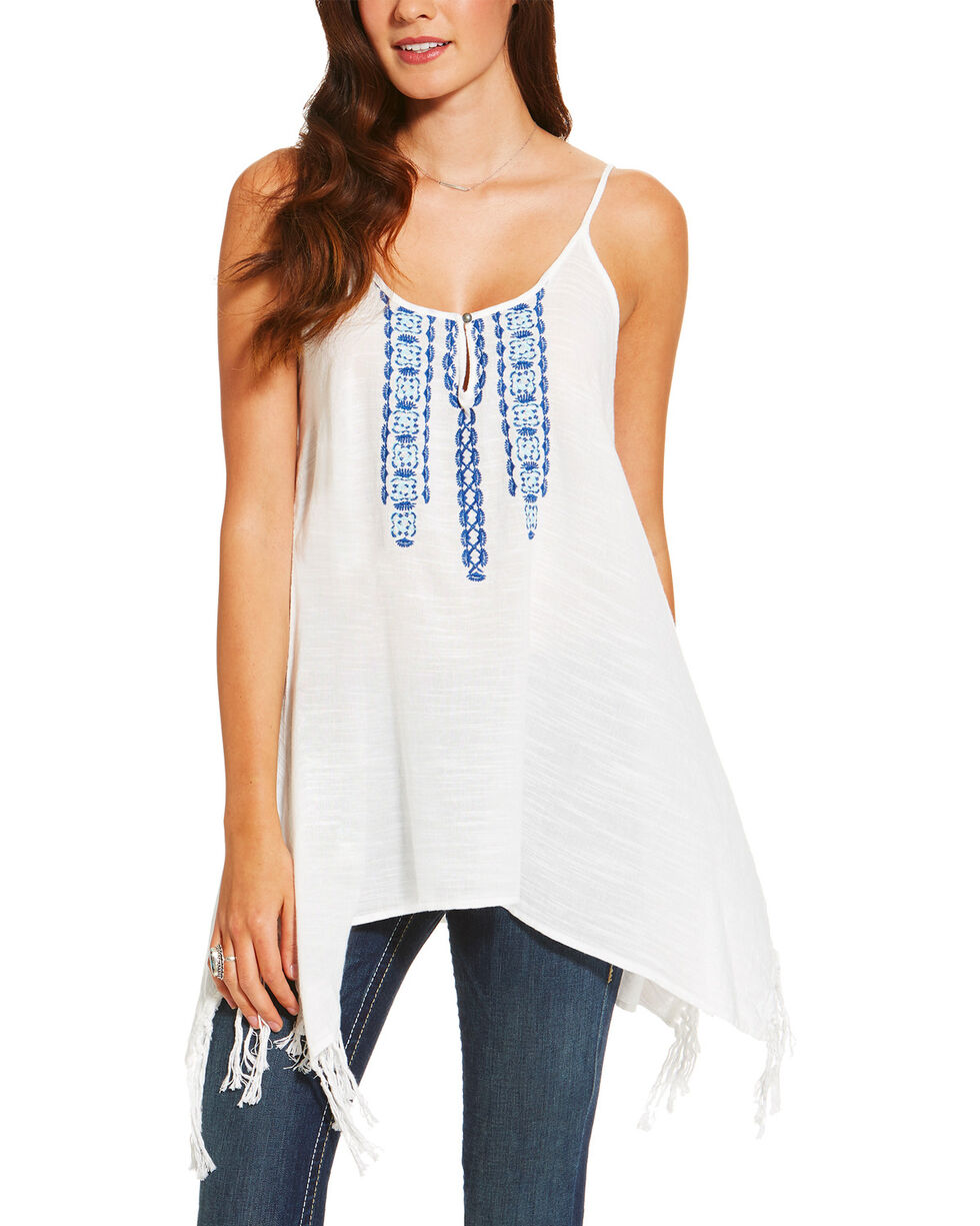 Ariat Women's Statement Embroidered Tank With Fringe, White, hi-res