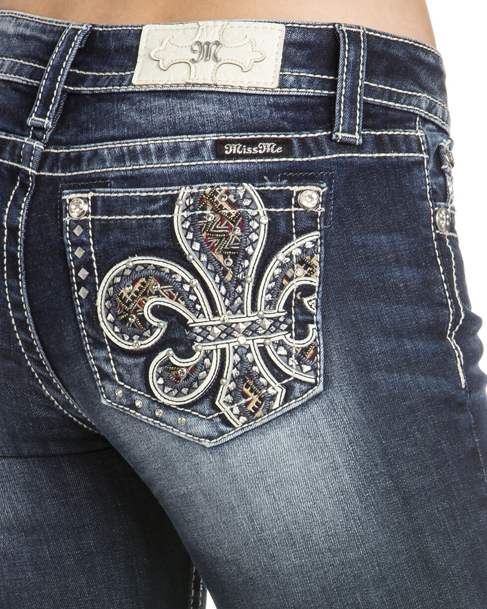 Miss Me Women's Fleur De Lis Beaded Boot Cut Jeans , Indigo, hi-res
