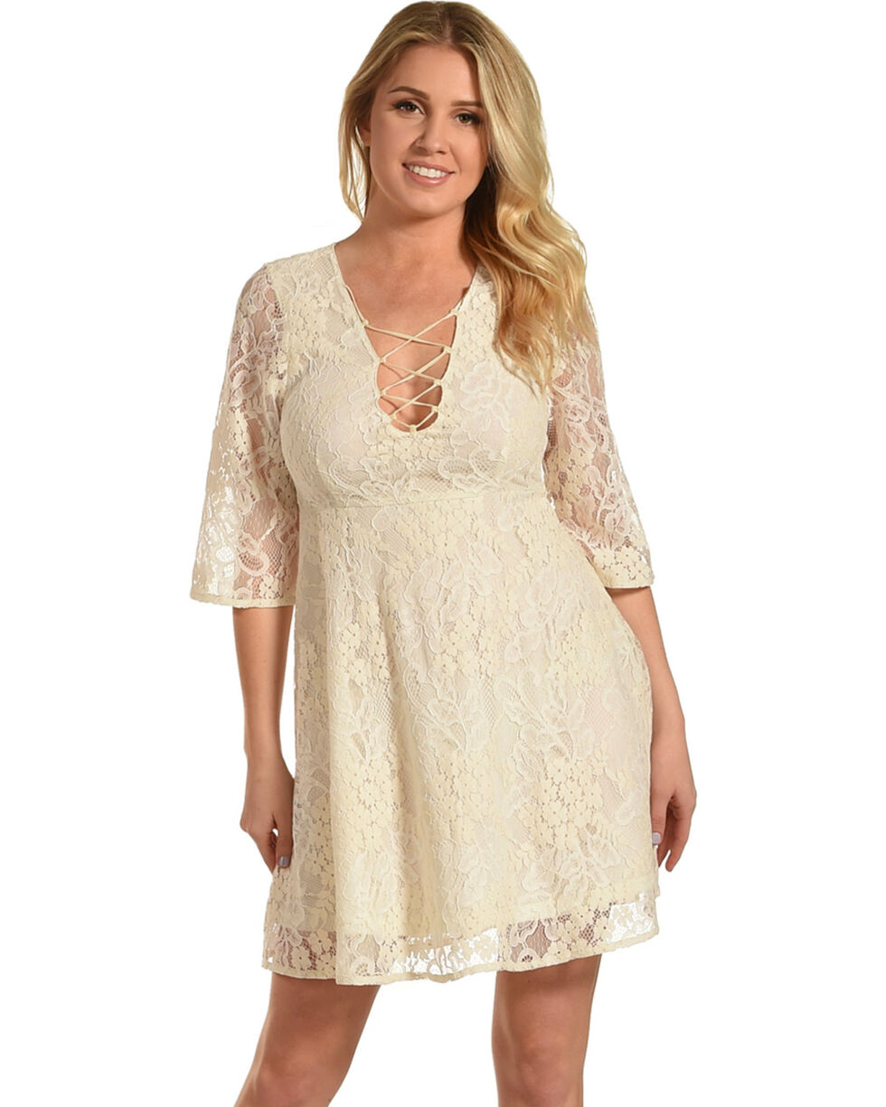 Young Essence Women's 3/4 Sleeve Lace Dress, Cream, hi-res
