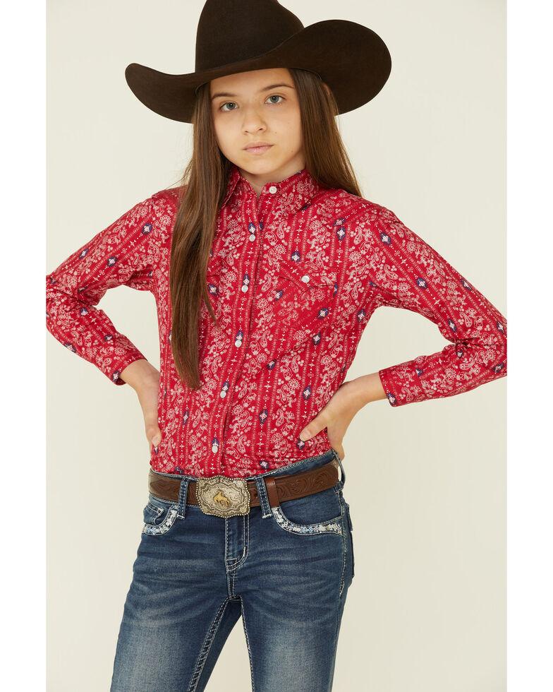 Rough Stock By Panhandle Girls Bandana Aztec Print Long Sleeve Snap Western Shirt , Red, hi-res