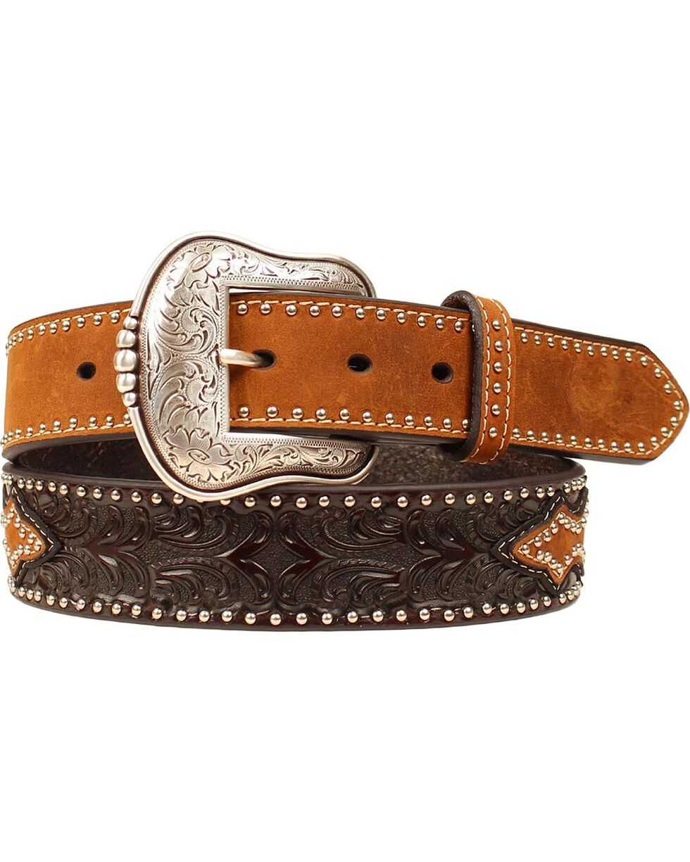 Nocona Men's Tooled Studded Leather Belt, Brown, hi-res