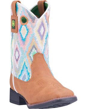 John Deere Girls' Printed Upper Work Boots - Square Toe , Tan, hi-res