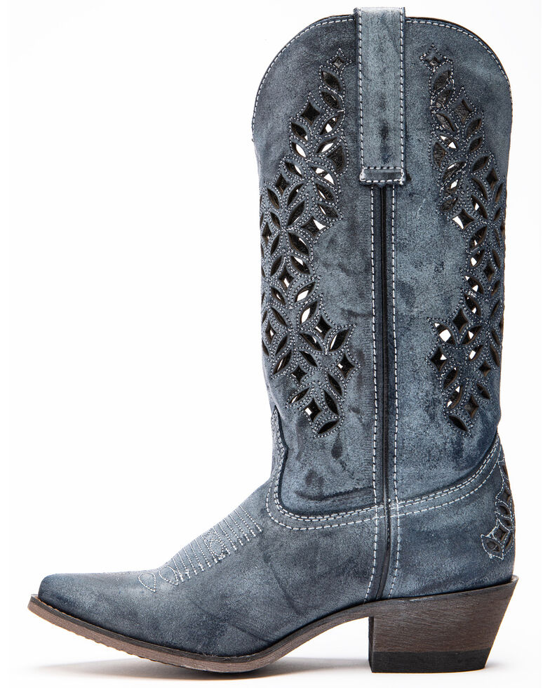 Laredo Women's Chopped Out Suede Western Boots - Snip Toe, , hi-res