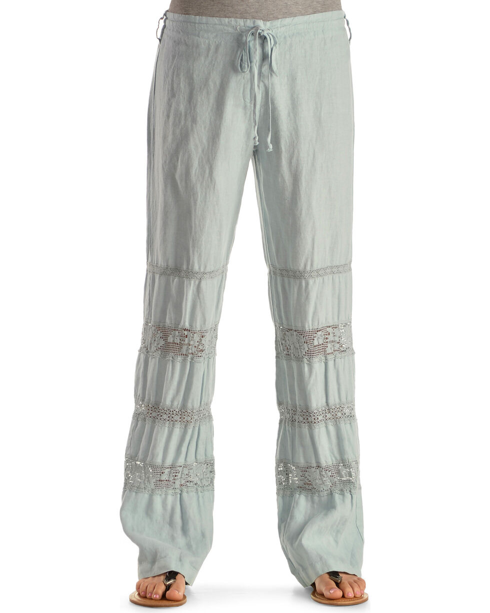 Johnny Was Women's Crochet Insert Linen Pants, Seafoam, hi-res