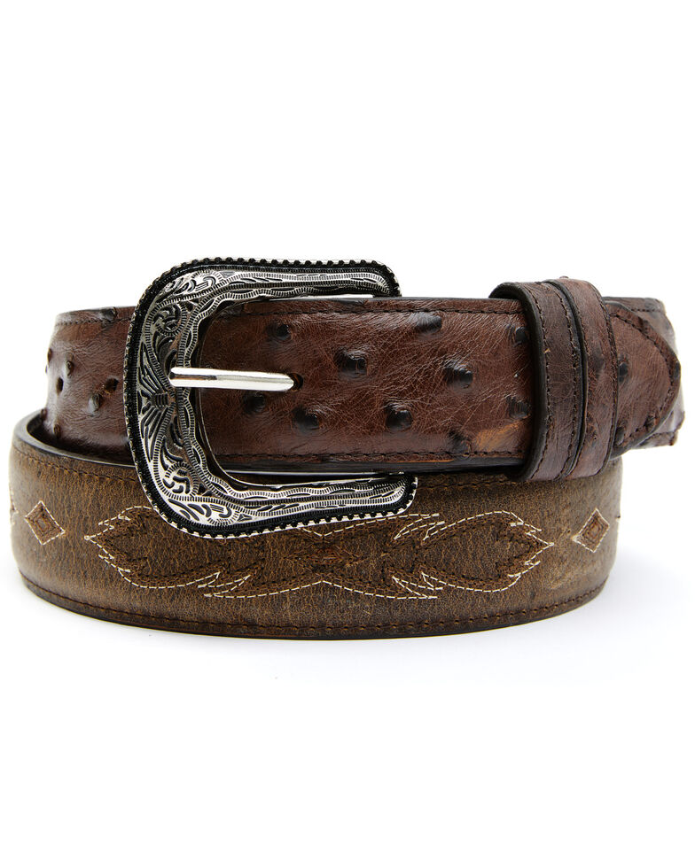 Cody James Men's Full-Quill Ostrich Embroidered Western Belt, Brown, hi-res