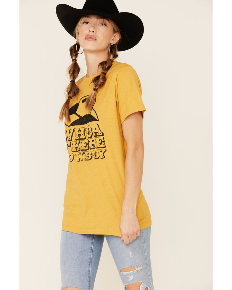Ali Dee Women's Whoa There Cowboy Graphic Tee , Dark Yellow, hi-res