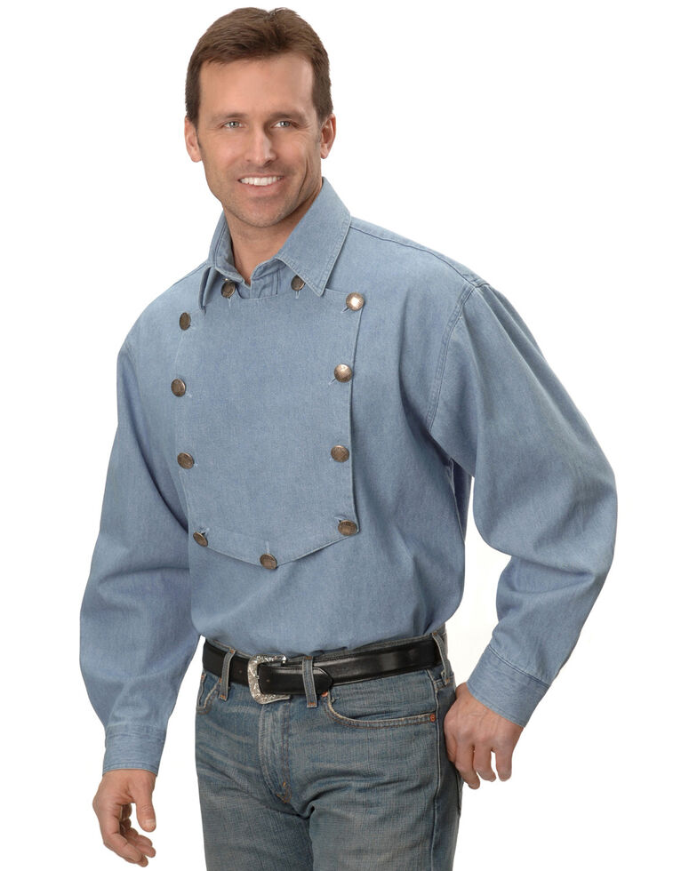 Rangewear by Scully Men's Solid Frontier Engineer Long Sleeve Western Bib Shirt, Blue, hi-res