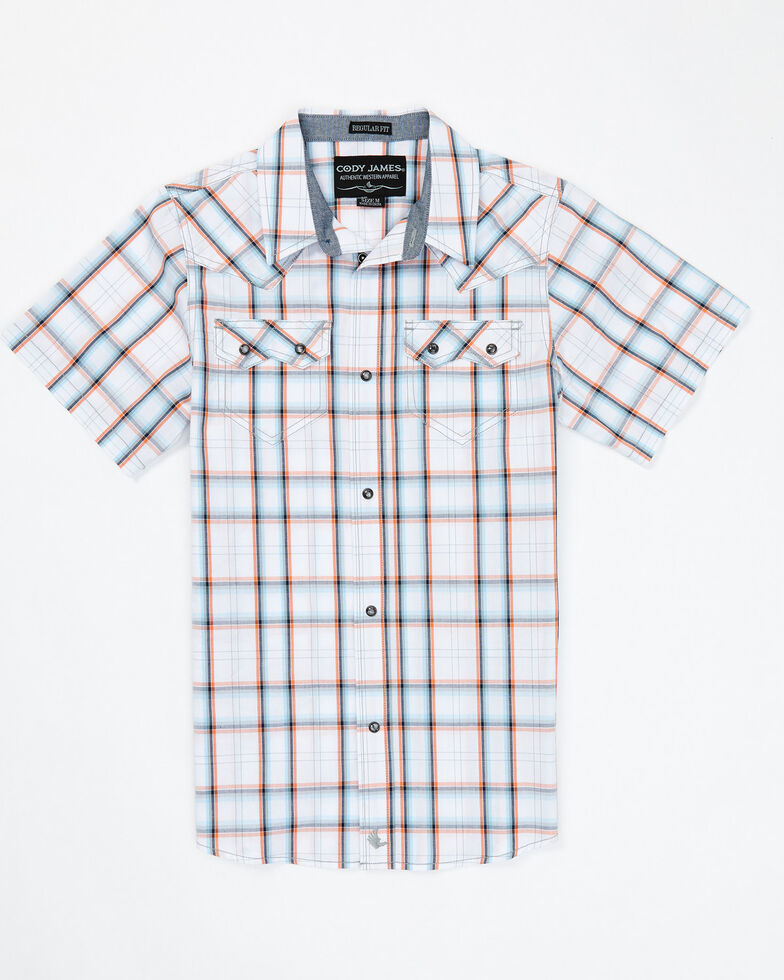 Cody James Boys' Neon Glow Plaid Snap Short Sleeve Western Shirt , White, hi-res