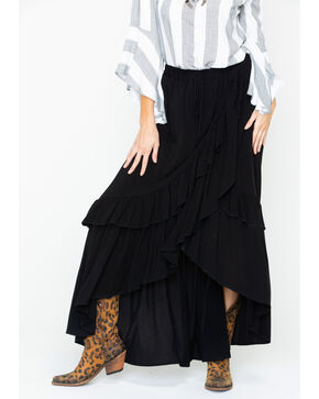 Panhandle Women's Ruffle Maxi Skirt, Black, hi-res