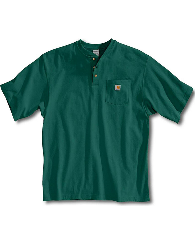 Carhartt Short Sleeve Henley Work Shirt, Green, hi-res