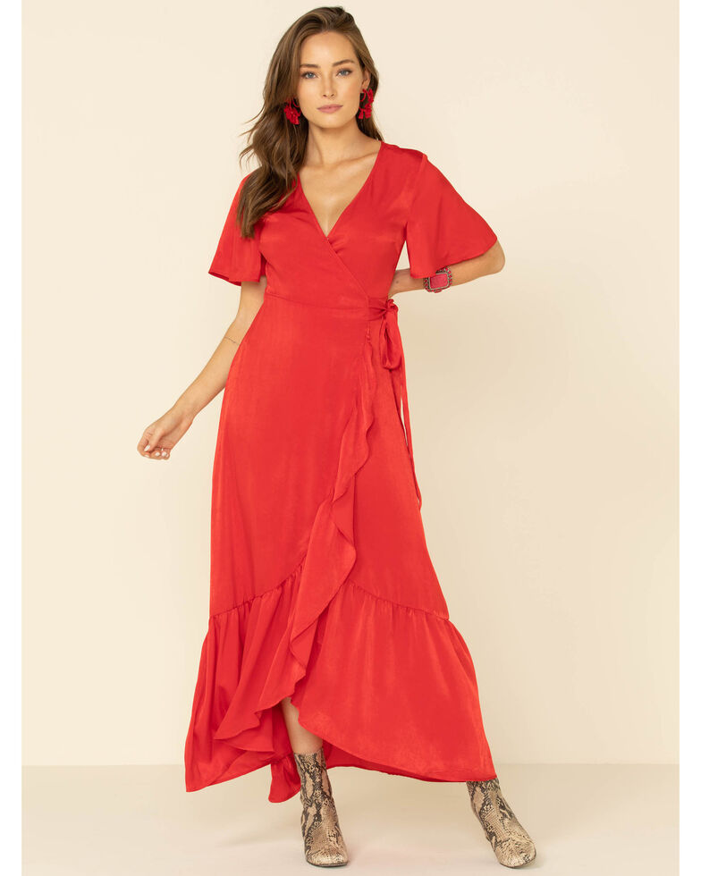 Flying Tomato Women's Ruffle Wrap Dress, Red, hi-res