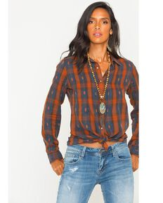 Ryan Michael Women's Espresso Pintuck Dobby Plaid Shirt , Lt Brown, hi-res